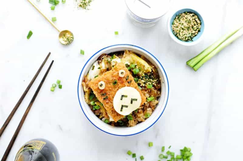 "#Totoroweek Katsudon with Furikake + ""No Recipe"" Fried Rice (via thepigandquill.com) #dairyfree"