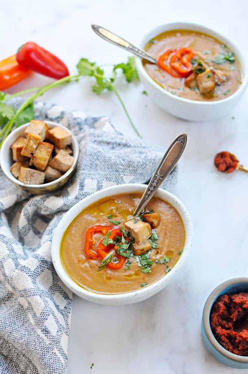 Coconut Red Curry Sweet Potato Bisque recipe (via thepigandquill.com) #dairyfree