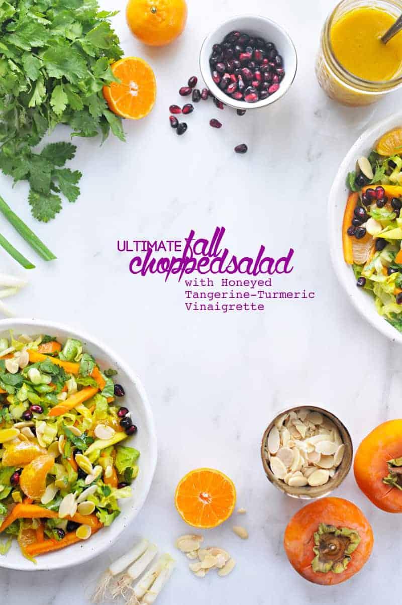 Ultimate Fall Chopped Salad with Honeyed Tangerine-Turmeric Vinaigrette (via thepigandquill.com) #vegetarian #vegan #dairyfree