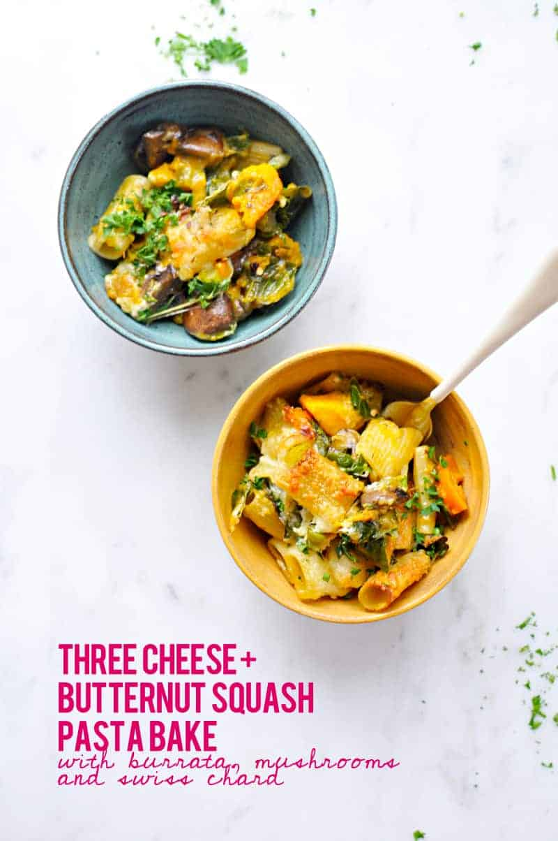 Three Cheese Butternut Pasta Bake with Mushrooms + Chard Recipe (via thepigandquill.com) #vegetarian #burrata #casserole