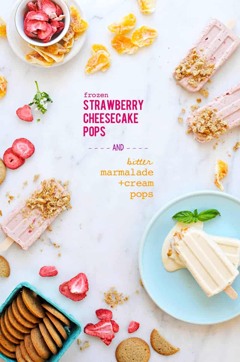 Marmalade 'N' Cream Pops + Strawberry Cheesecake Pops (recipe via thepigandquill.com) #popsicleweek #popsicles #icepops #summerdessert