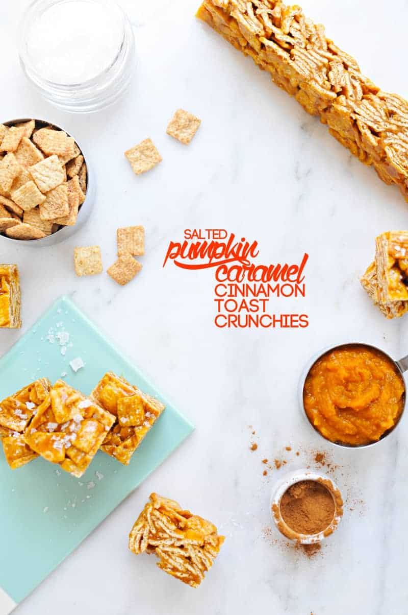 Salted Pumpkin Caramel Cinnamon Toast Crunchies (via thepigandquill.com) #dessert #fallbaking #sweets #virtualpumpkinparty