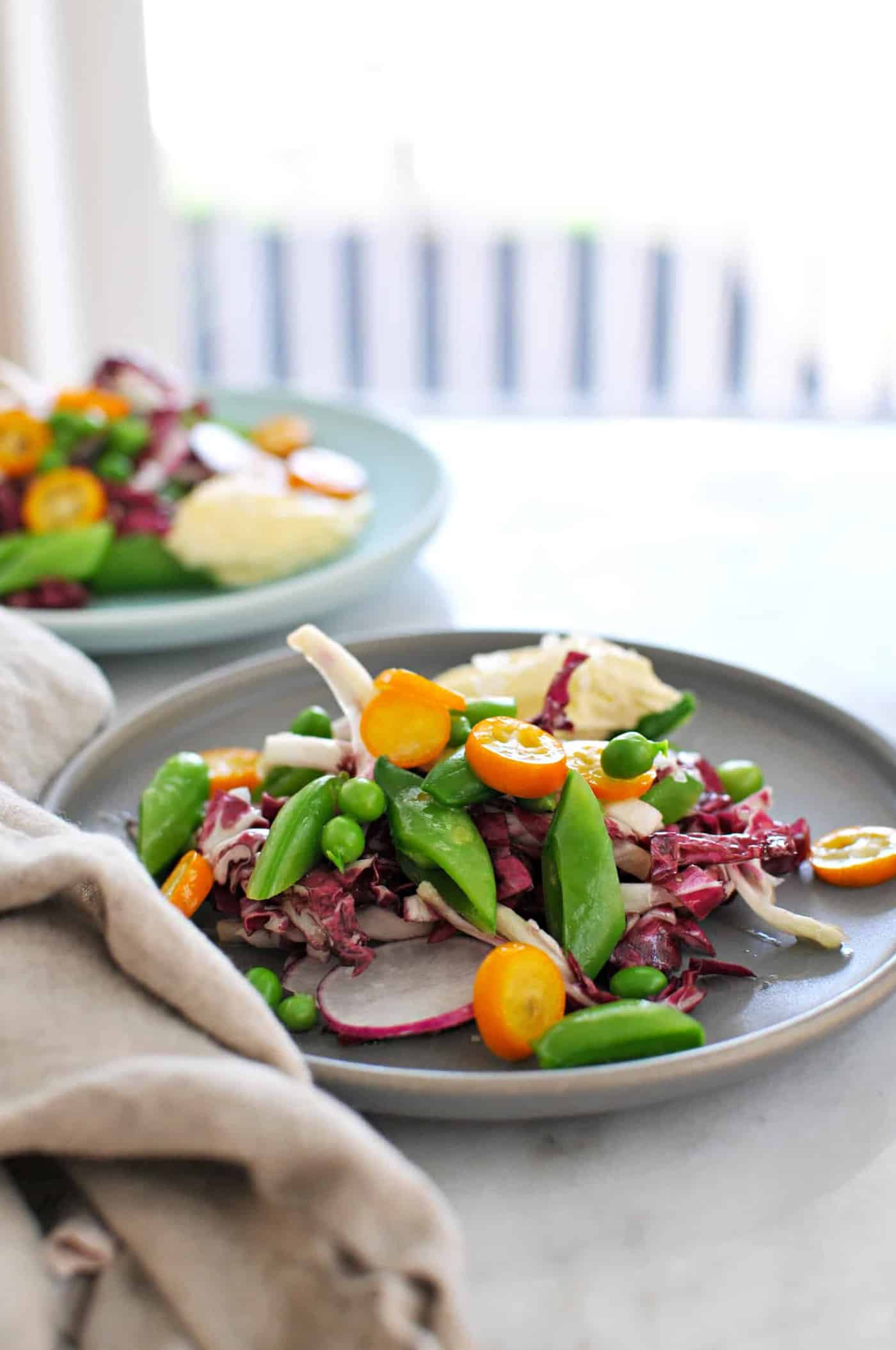 Spring Things Salad with Pickled Kumquats + Whipped Brie recipe (via thepigandquill.com) #vegetarian #glutenfree #lunch