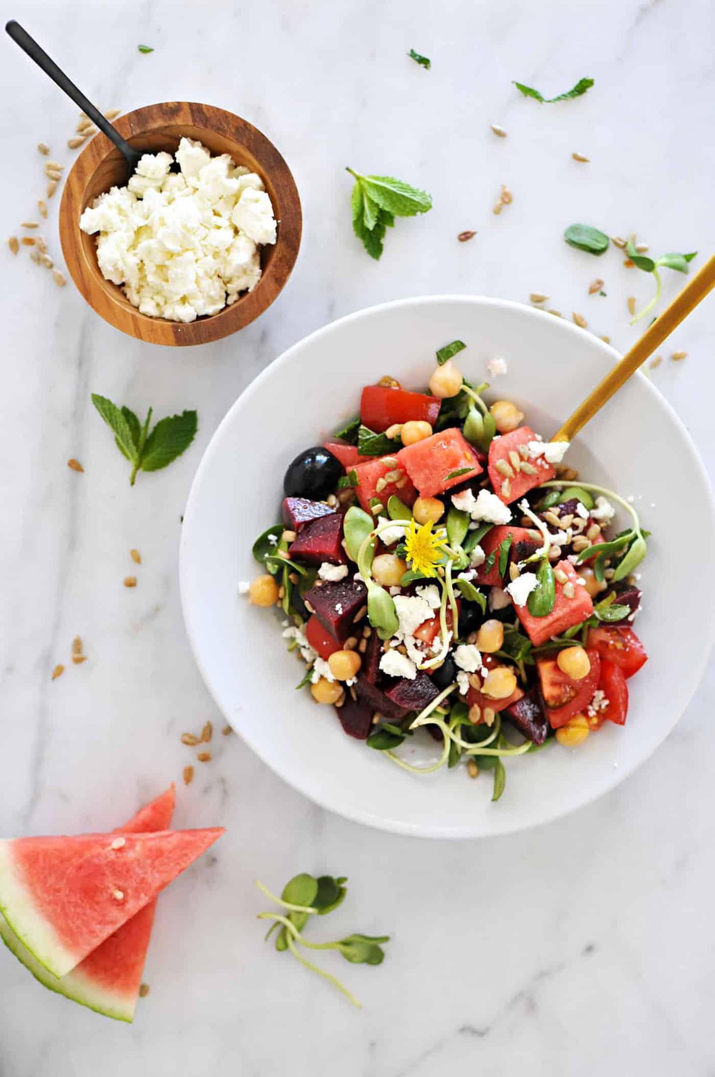 Mason Jar Greek-Style Watermelon Salads recipe (via thepigandquill.com) #vegetarian #glutenfree #lunch