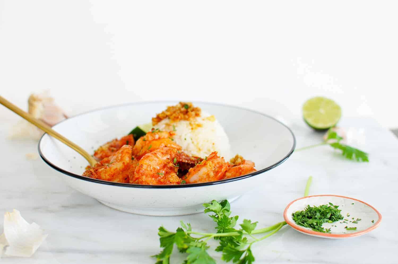 Hawaiian Shrimp Scampi (aka Shrimp Truck Garlic Shrimp) recipe via thepigandquill.com