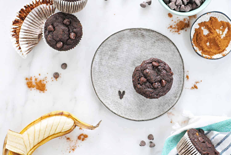 Chocolate-Banana Muffins (Gluten-Free) recipe via thepigandquill.com #baking #dessert #sweets #breakfast