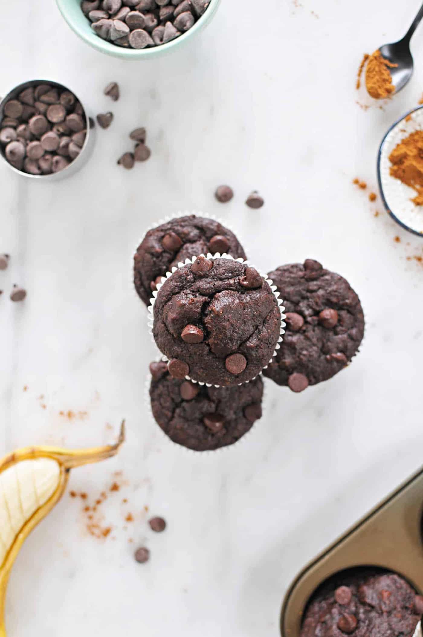 Mexican Chocolate Banana Muffins (Gluten-Free) recipe via thepigandquill.com #baking #dessert #sweets #breakfast