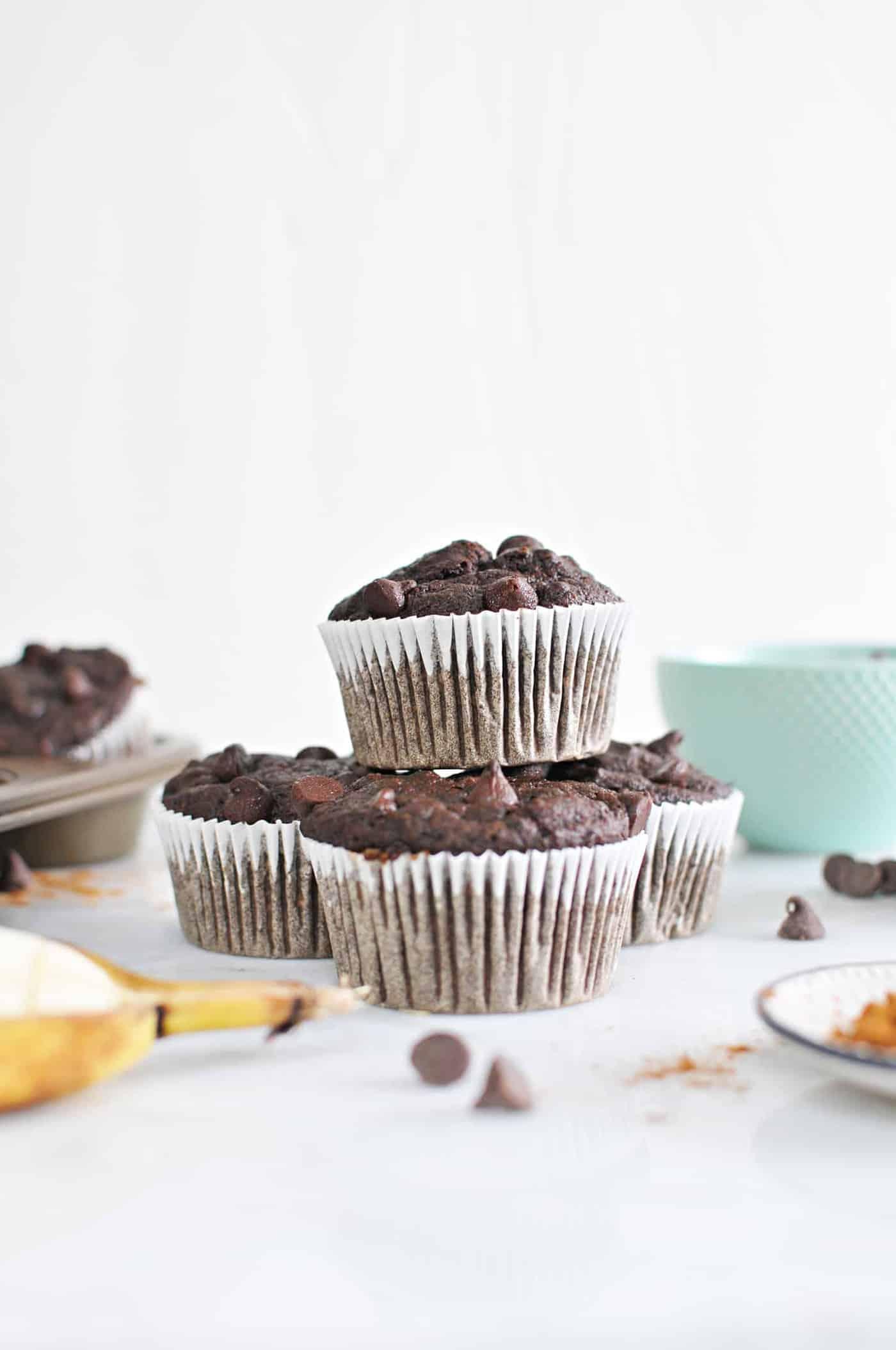 Chocolate Banana Muffins (Gluten-Free) recipe via thepigandquill.com #baking #dessert #sweets #breakfast