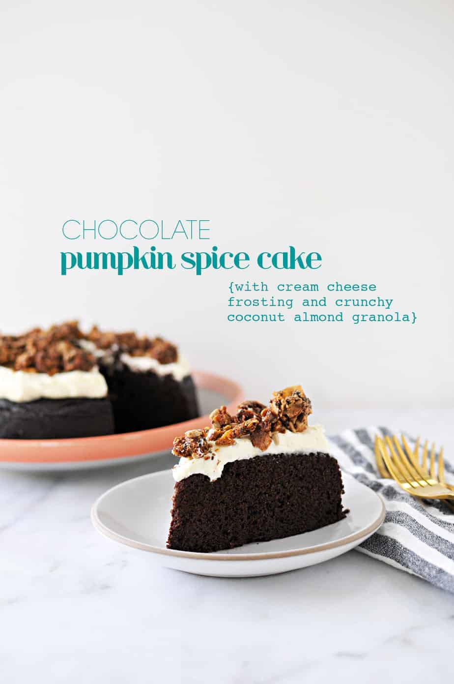 Chocolate Pumpkin Spice Cake with Cream Cheese Frosting recipe (via thepigandquill.com) #glutenfree #baking #fall