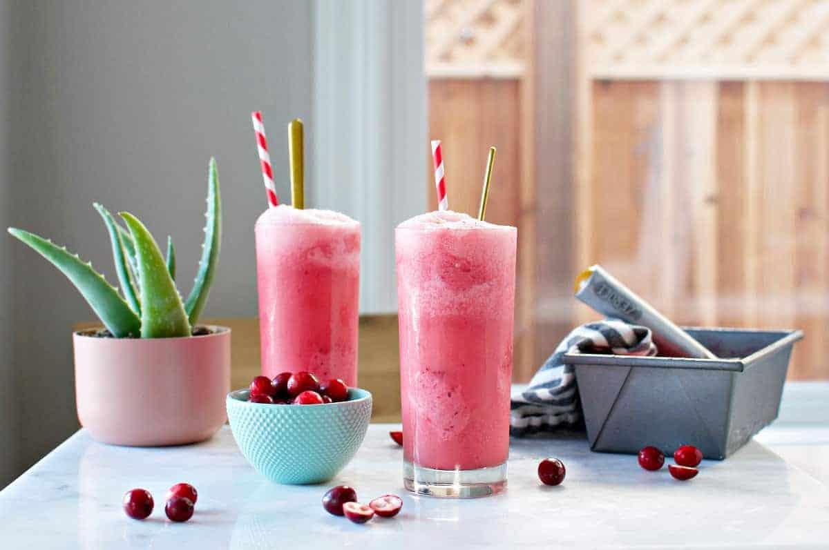 Cranberry Sherbet Freezes recipe (via thepigandquill.com) #dairyfree #homemadesherbet #holidaydessert #drinks