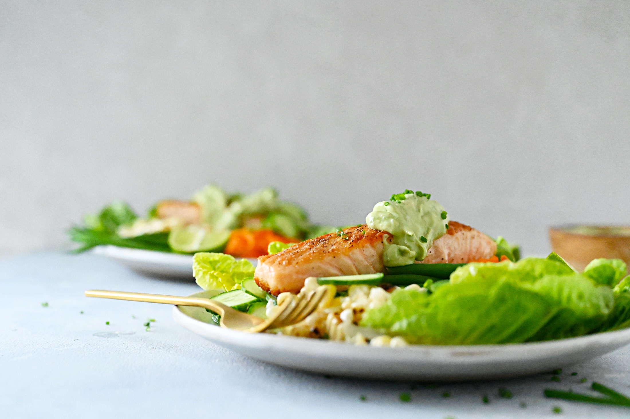 Crispy-Skin Salmon Bowls with Pickled Carrots and Miso Avocado Green Goddess Dressing recipe (Gluten-Free + Dairy-Free) via thepigandquill.com #weeknightmeal