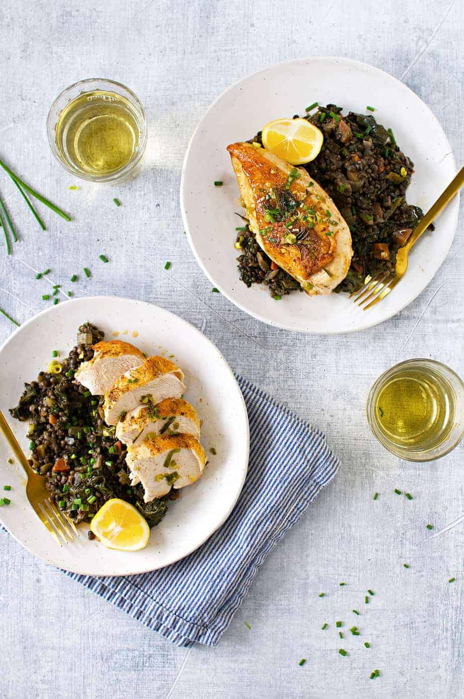 Crispy Pan-Roasted Chicken Breasts with Lemon-Scallion Drippings recipe (via thepigandquill.com) #glutenfree #mealprep #dinner