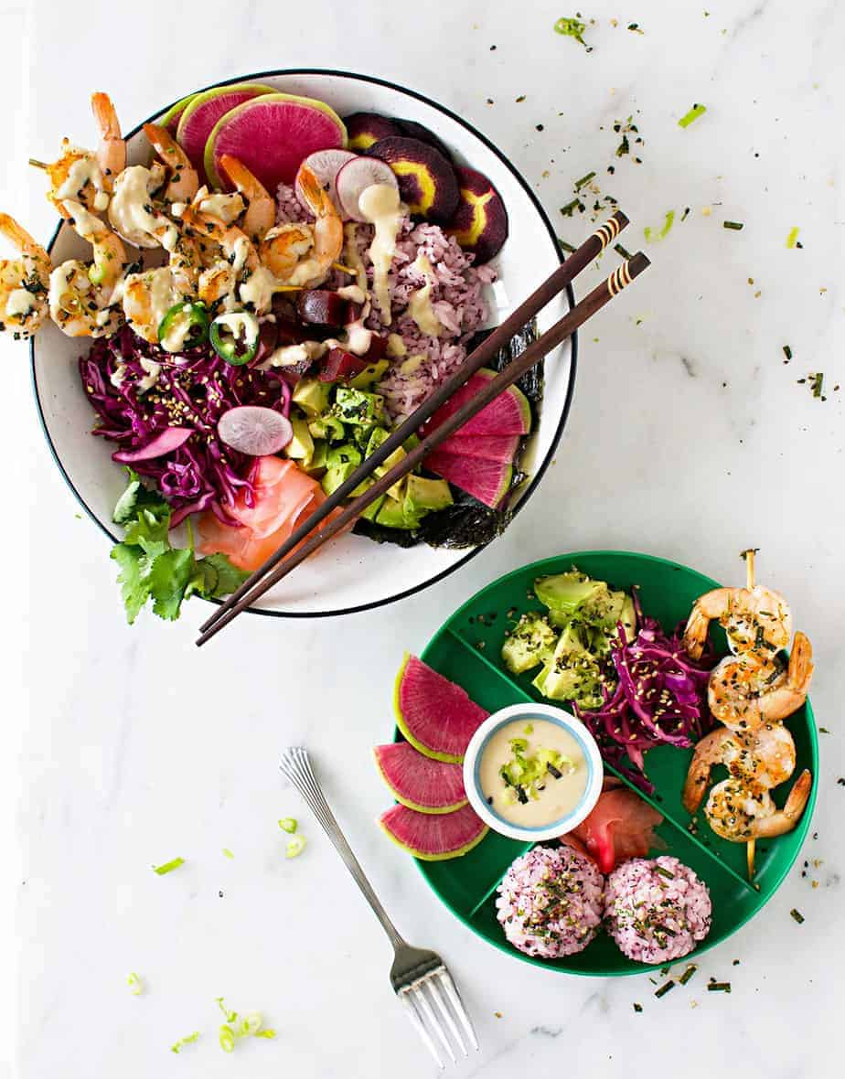 Grilled Sesame Shrimp Sushi Bowls with Miso Tahini Dressing recipe (via thepigandquill.com) - beautiful, easily assembled sushi bowls that make an impressive date-night in #glutenfree #pokebowl #ricebowl