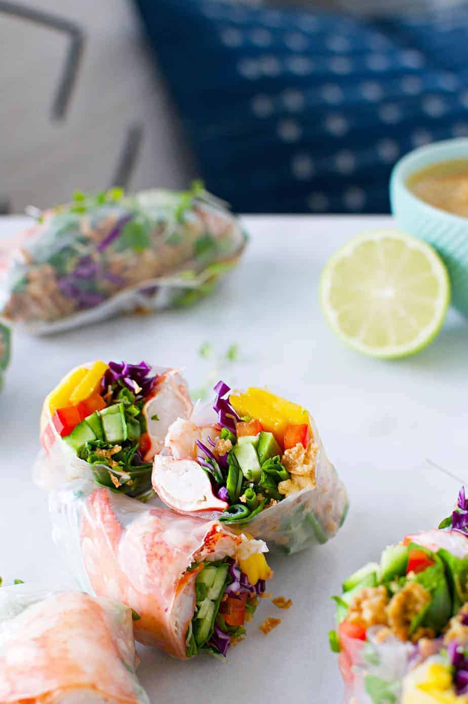 Fresh Lobster Spring Rolls with Easy Peanut Dipping Sauce recipe (via thepigandquill.com) #glutenfree #dairyfree