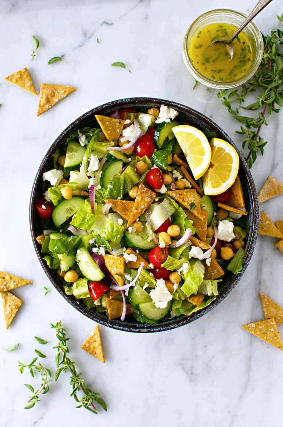 Gluten-Free Fattoush Salad with Za'atar Chickpea Crisps recipe (via thepigandquill.com) #vegetarian #greeksalad #mealplanning