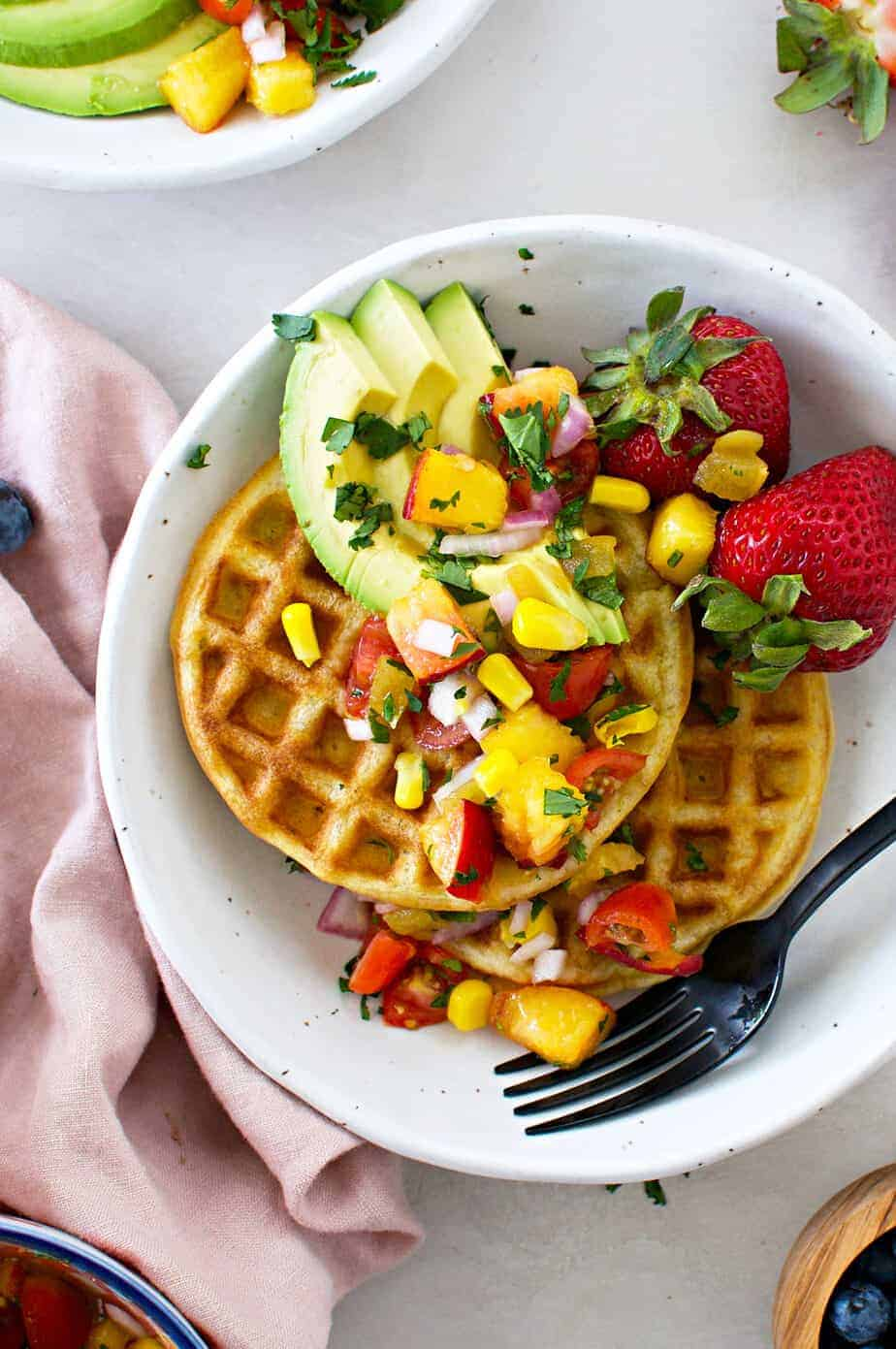 Sweet Corn + Green Chile Waffles with Peach Pico de Gallo recipe (via thepigandquill.com) #breakfast #brunch #dairyfree