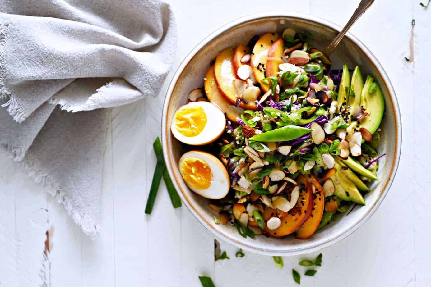 Shaved Brussel Sprout Salad with Miso Mustard Vinaigrette and Soy Sauce Eggs recipe (via thepigandquill.com) #vegetarian #dairyfree