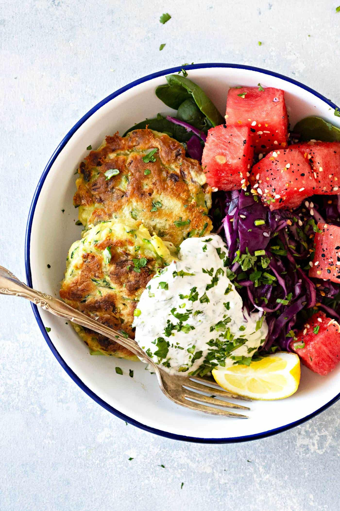 "Pantry-Friendly Zucchini Fritters with Greek Yogurt ""Ranch"" recipe via thepigandquill.com #vegetarian #mealprep #pantrycooking #pantryrecipe #dinner"
