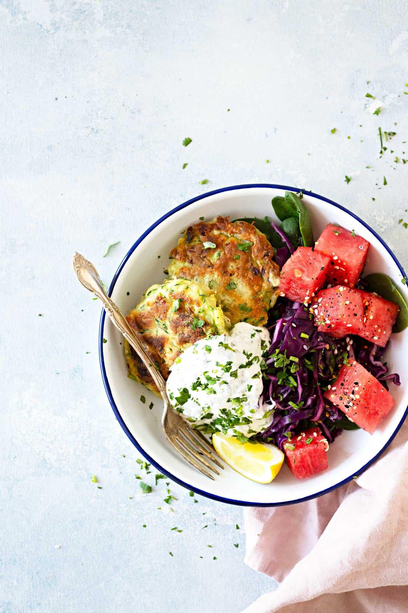 "Pantry-Friendly Zucchini Fritters with Greek Yogurt ""Ranch"" recipe via thepigandquill.com #vegetarian #mealprep #pantrycooking #pantryrecipe #dinner"