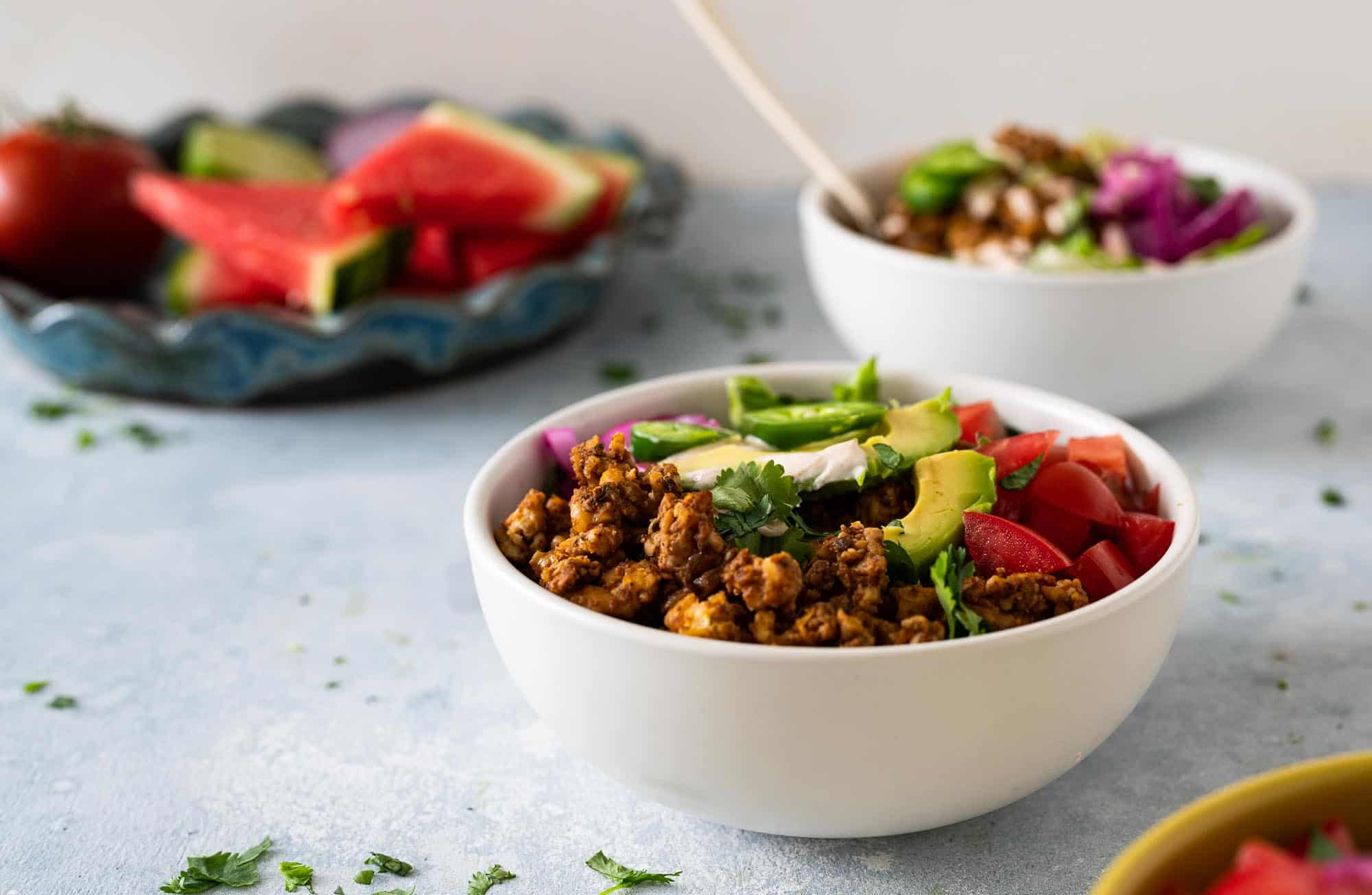 Vegan Taco Salad Bowls with Tempeh Walnut Taco Meat recipe via The Pig & Quill #plantbased #grainfree