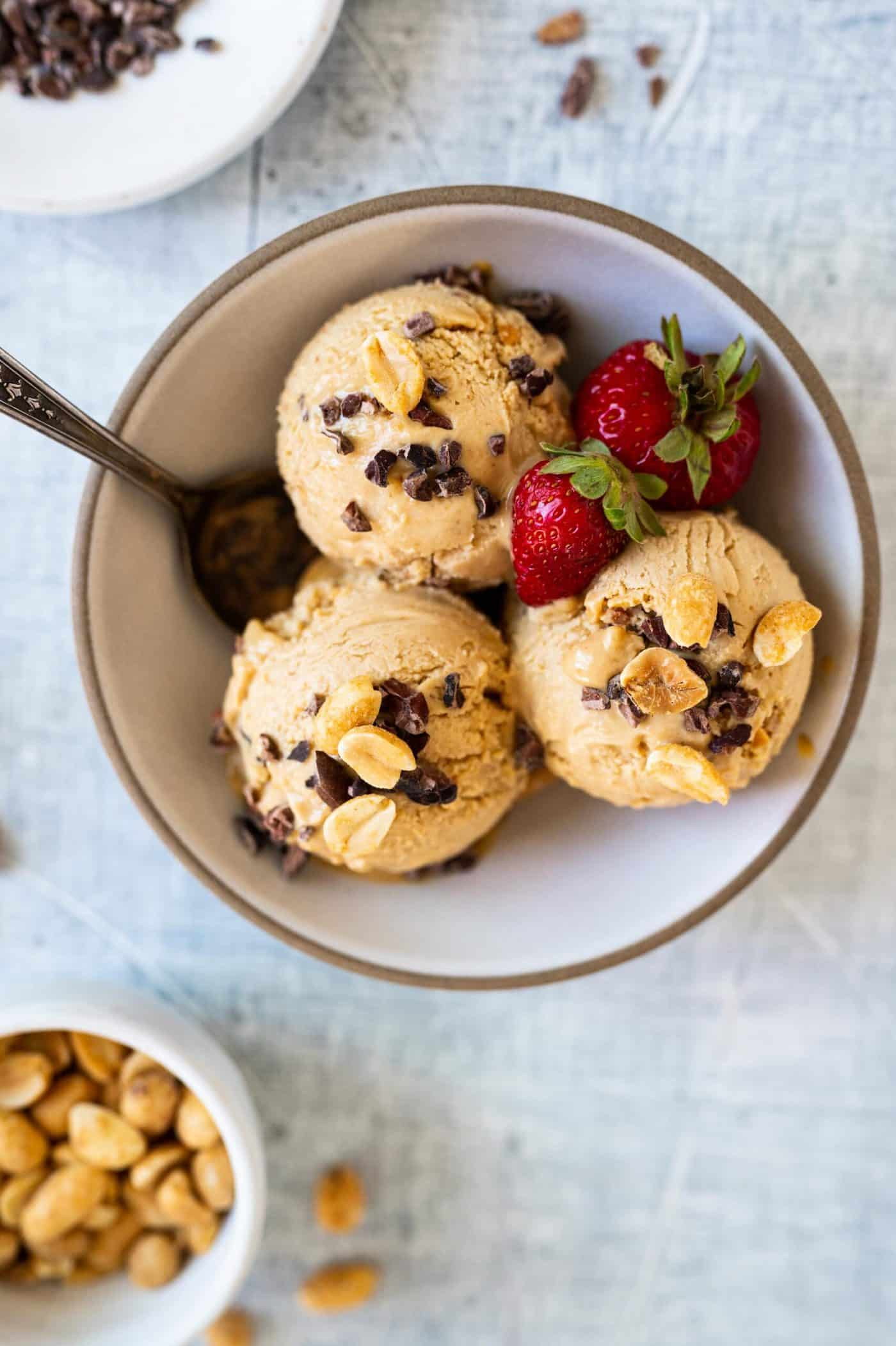 Almost Vegan Peanut Butter Ice Cream Recipe via thepigandquill.com #dairyfree #eggfree #plantbased