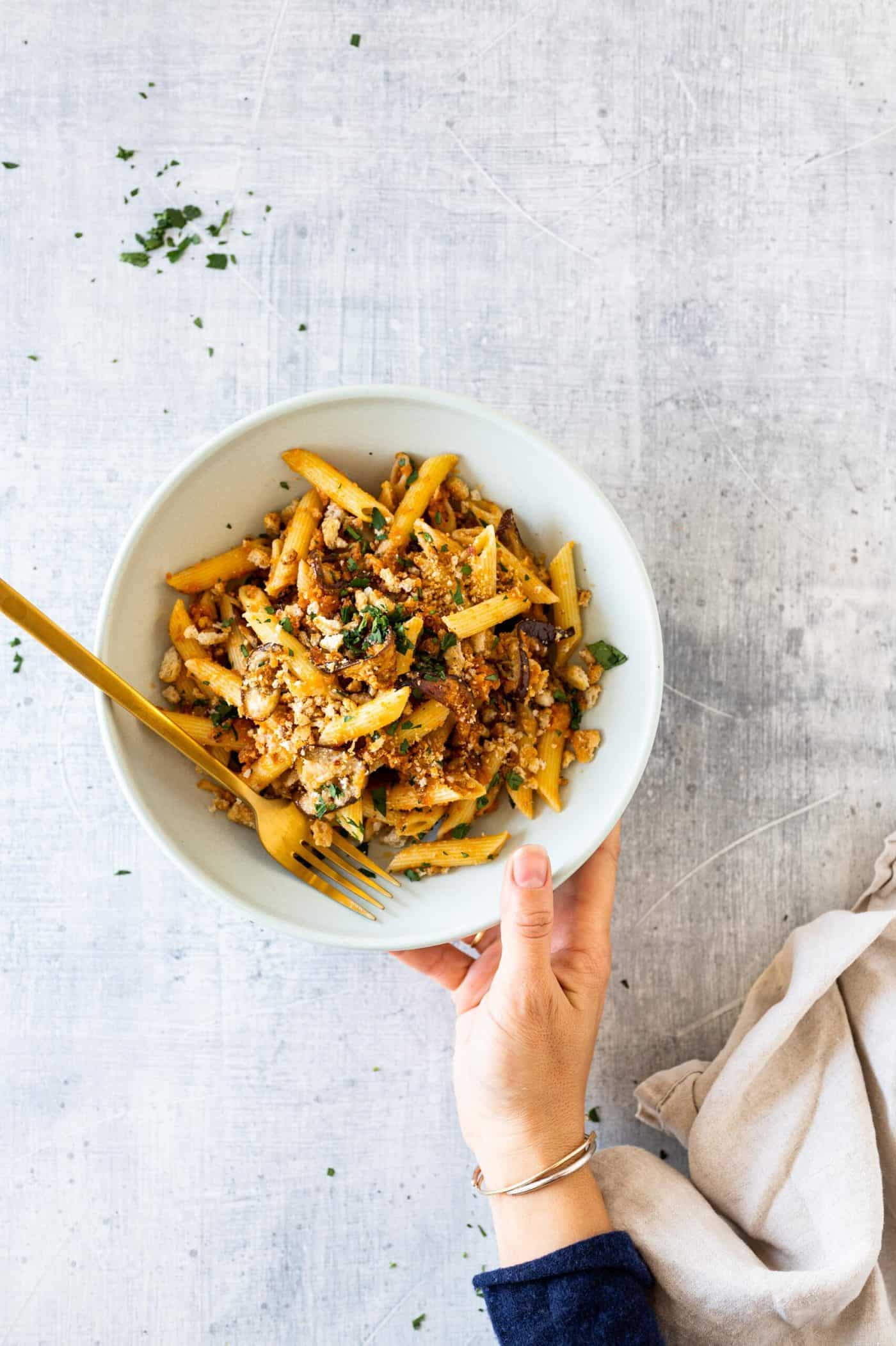 Easy Eggplant Parmesan Pasta recipe via thepigandquill #vegetarian #weeknightmeal #vegan #dinner