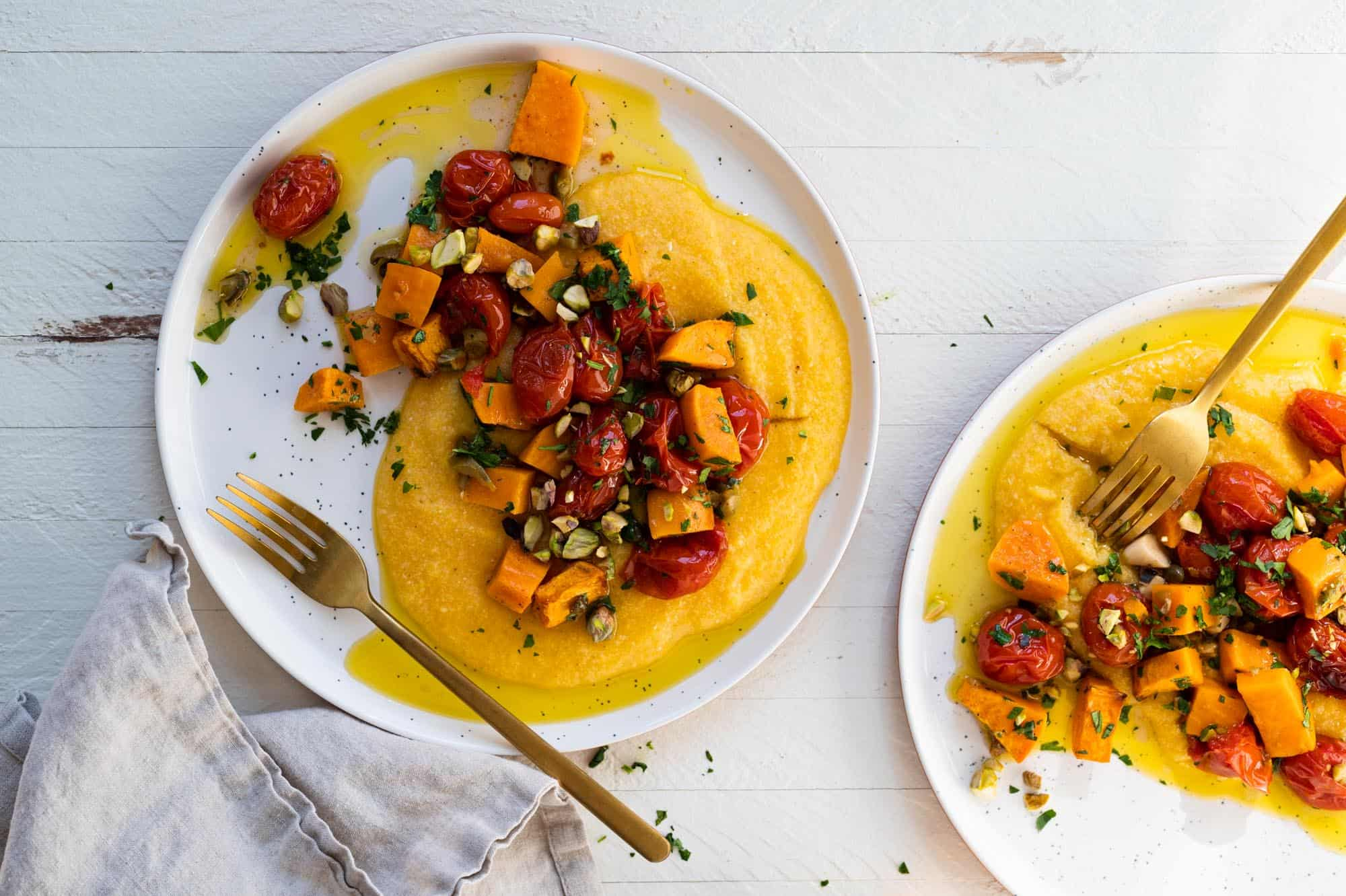 Vegan Grits Bowls with Roasted Sweet Potatoes and Tomatoes -- an easy weeknight vegan sheetpan meal (via thepigandquill.com)