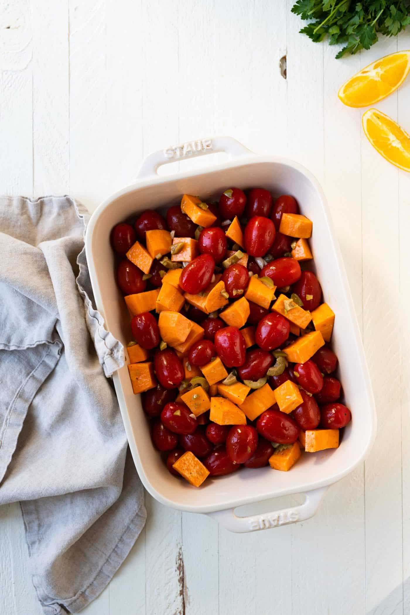 Roasted Sweet Potatoes and Tomatoes -- an easy weeknight vegan sheetpan meal (via thepigandquill.com)